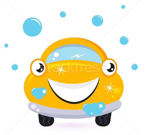 Happy yellow car wash isolated on white Stock photo © lordalea