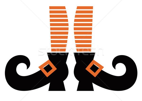 Сток-фото: Cartoon · ведьмой · ног · изолированный · белый · оранжевый