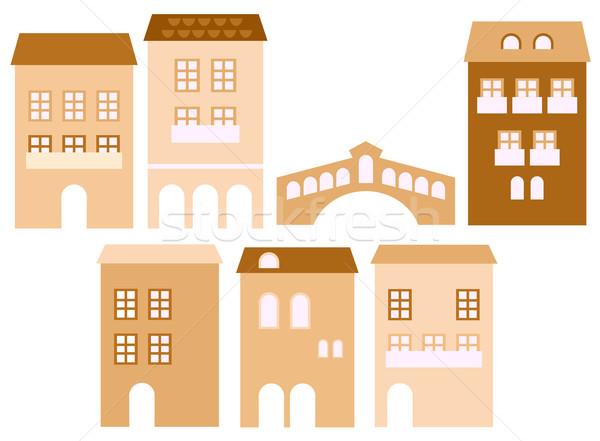 Foto stock: Edad · europeo · ciudad · casas · aislado · blanco