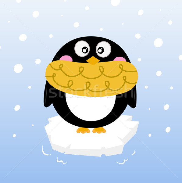 Cute invierno pingüino iceberg Cartoon Foto stock © lordalea