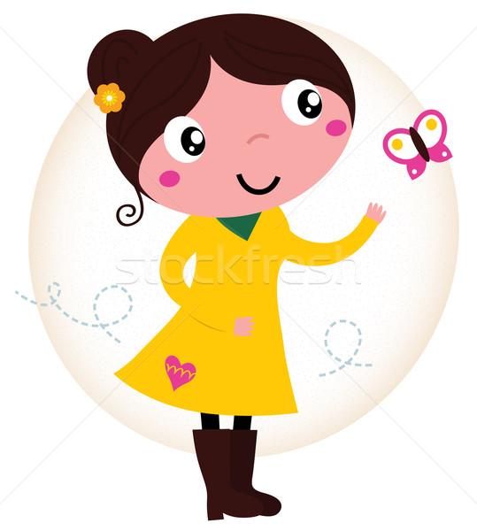 Retro voorjaar cute meisje Geel jurk Stockfoto © lordalea