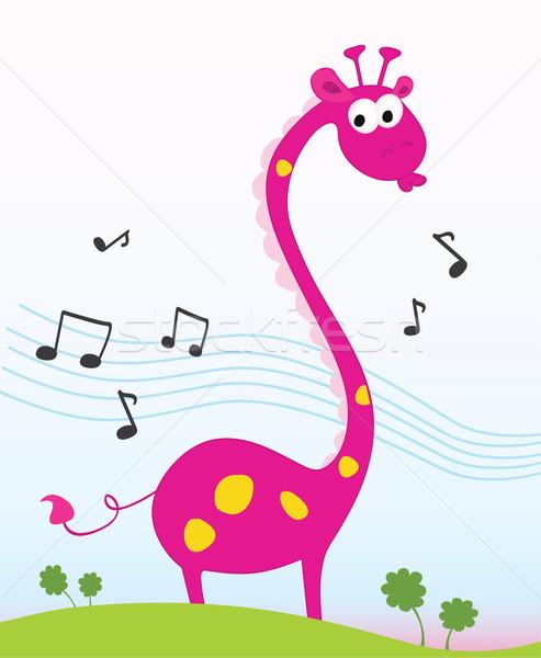 Cantando Funny Selva Jirafa Cantar Vector