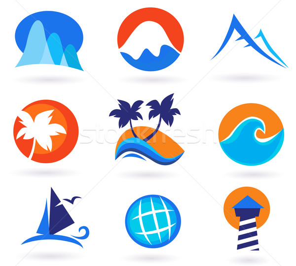 Vacation, Travel And Holiday Summer Icons - Red, Orange, Blue Stock photo © lordalea