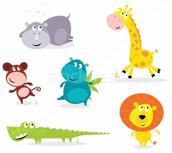Photo stock: Six · cute · animaux · de · safari · vecteur · cartoon · illustration