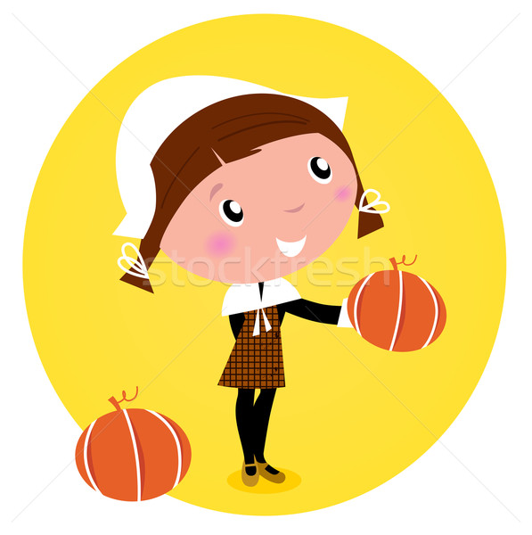 Cute Thanksgiving / Pilgrim Girl with pumpkin head - isolated on Stock photo © lordalea