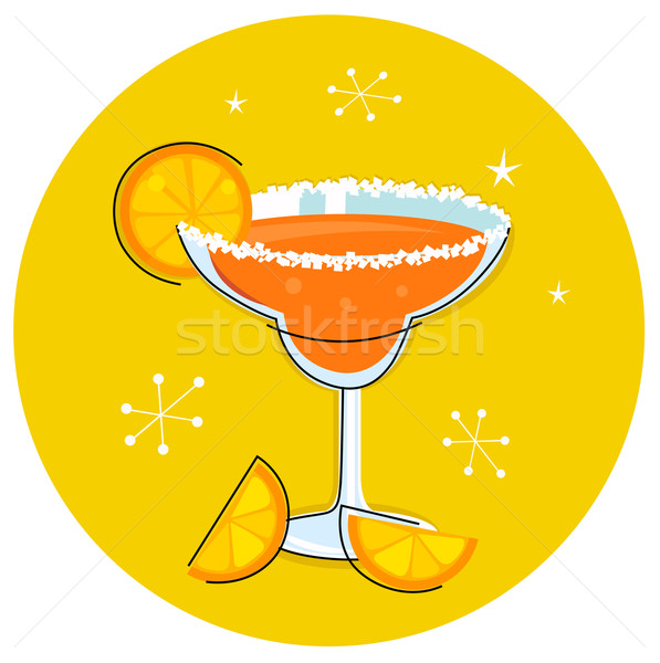 Retro Margarita drink or cocktail with citrus fruit isolated on  Stock photo © lordalea