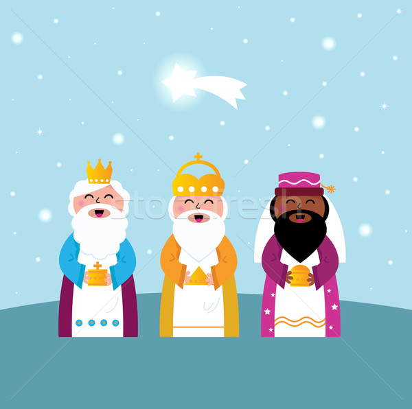 Stock photo: Three wise men bringing gifts to Christ