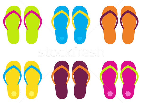 Colorful flip flop collection isolated on white Stock photo © lordalea