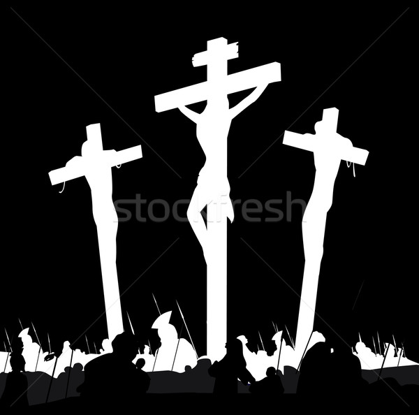 Crucifixion Calvary Scene In Black And White  Stock photo © lordalea