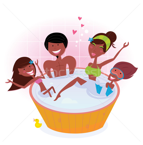Stock photo: Dark skin family with two children in bath tub