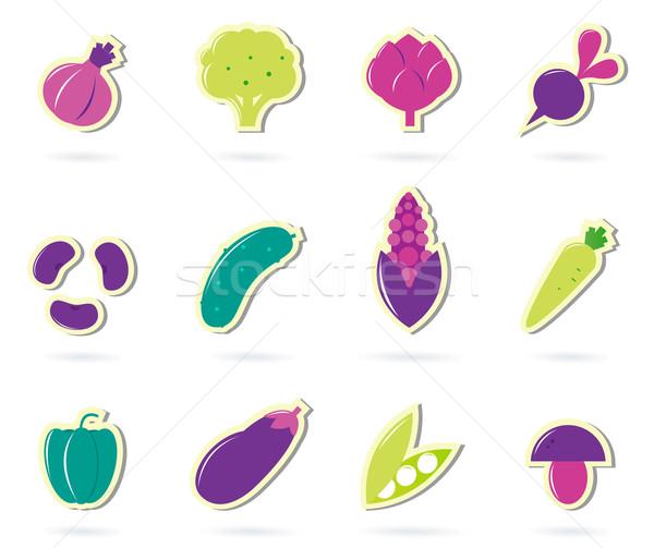Stylized retro Vegetable icons - isolated on white ( pink & gree Stock photo © lordalea