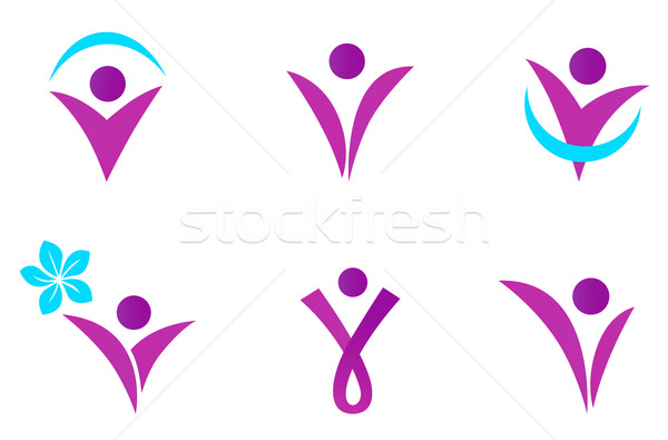 Abstract fit woman icon isolated on white - pink