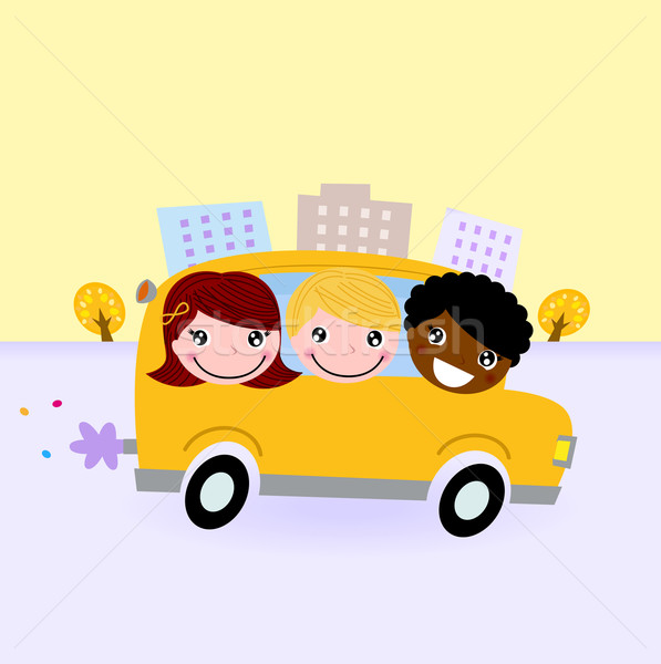 School bus with kids driving through town Stock photo © lordalea