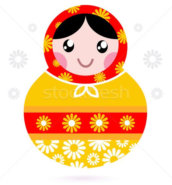 Cute wooden Russian doll - Matrioshka ( yellow and red ) Stock photo © lordalea