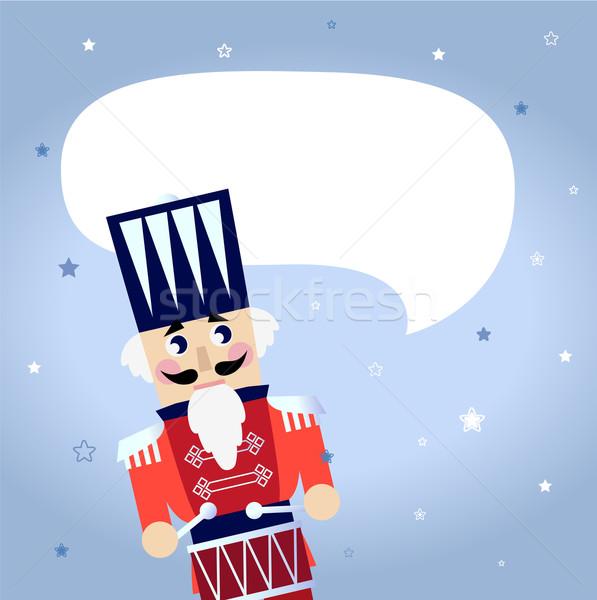 Cartoon christmas Nutcracker with blank speech bubble Stock photo © lordalea