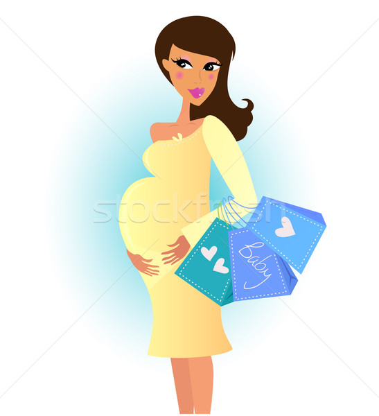 Belle femme enceinte Shopping nouvelle bébé Photo stock © lordalea
