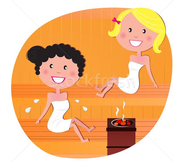 Aranyos nők barátok megnyugtató forró szauna Stock fotó © lordalea