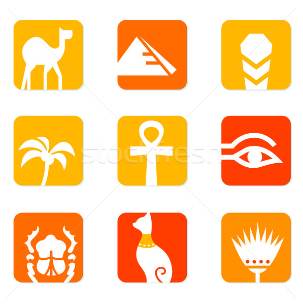 Egypt icons and design elements block isolated on white ( orange Stock photo © lordalea