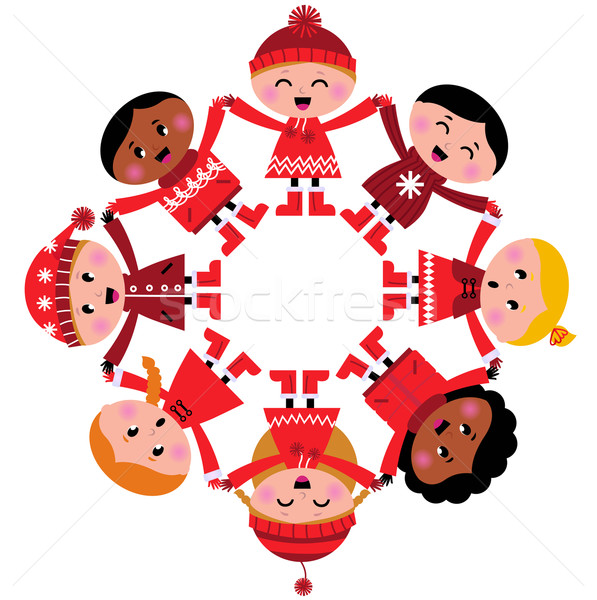 Happy multicultural winter kids holding hands isolated on white  Stock photo © lordalea