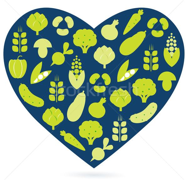 Foto stock: Alimentação · saudável · coração · isolado · branco · azul · verde