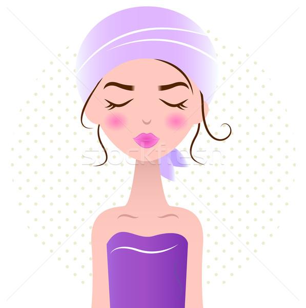 ストックフォト: 美しい · リラックス · スパ · 女性 · 孤立した · 白