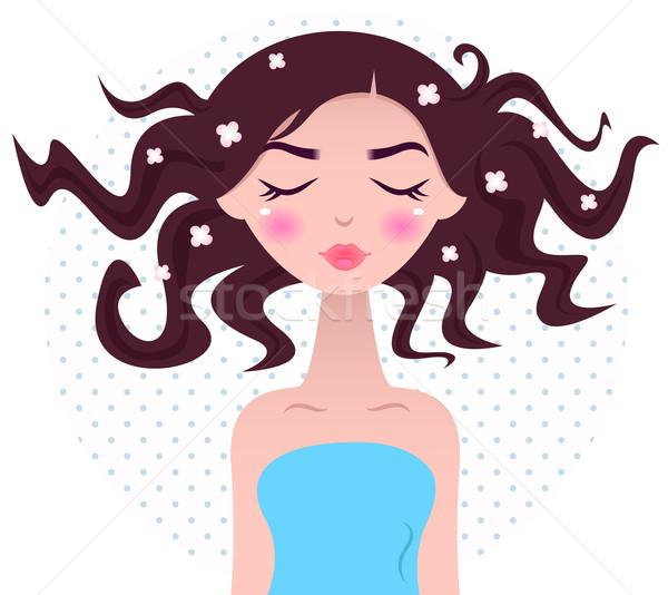 ストックフォト: スパ · 女性 · 美しい · 髪 · 孤立した · 点在