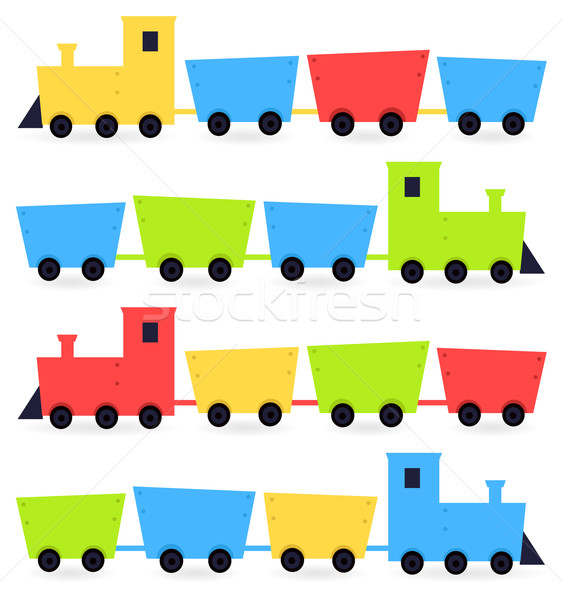Childish cartoon colorful trains isolated on white Stock photo © lordalea
