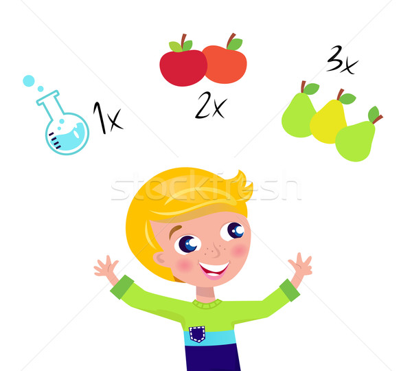 Сток-фото: Cute · мальчика · обучения · Math · изолированный