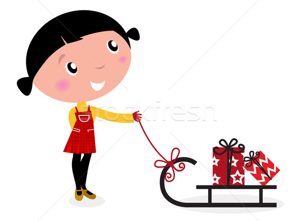 Cute winter child, sledge and christmas presents isolated on whi Stock photo © lordalea