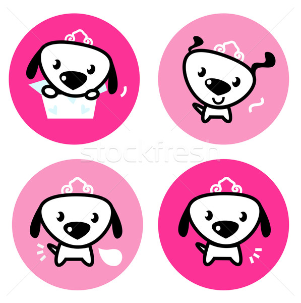 Cute female dog with crown pink icons or buttons set Stock photo © lordalea