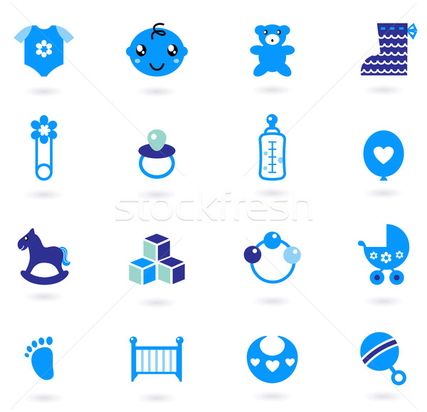 Vector blue Icons collection for baby boy isolated on white Stock photo © lordalea