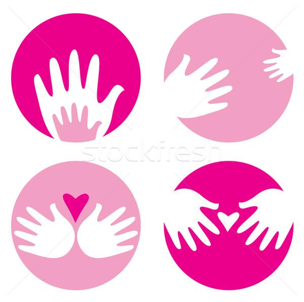 Motherhood, helpful hands icons isolated on white Stock photo © lordalea