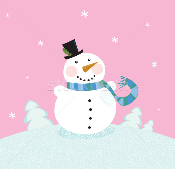 Christmas Snowman On Pink Background  Stock photo © lordalea