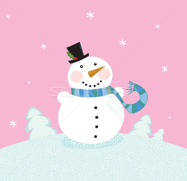 Christmas sneeuwpop roze cute natuur vector Stockfoto © lordalea