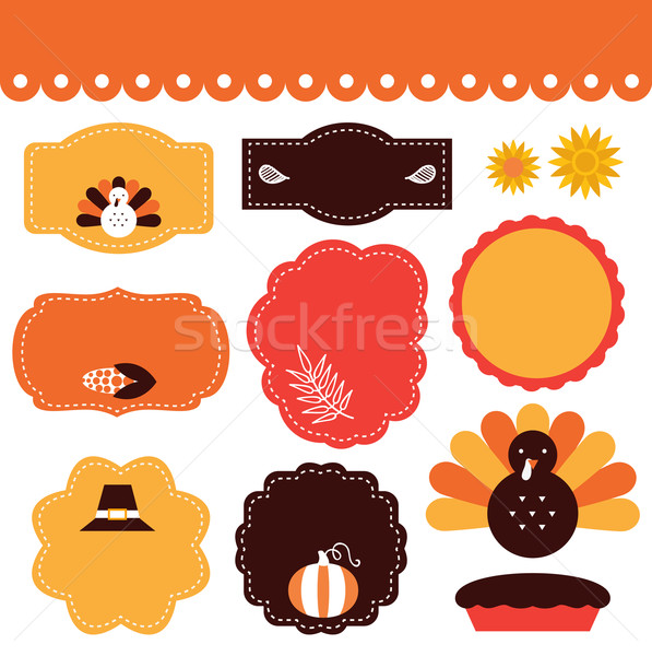 Thanksgiving tags and elements set isolated on white Stock photo © lordalea