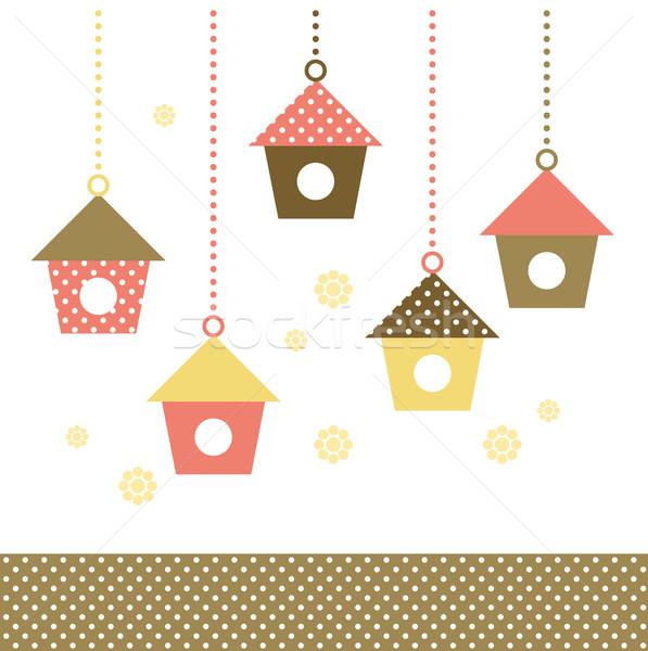 Stok fotoğraf: Renkli · kuşlar · evler · yalıtılmış · beyaz · vektör