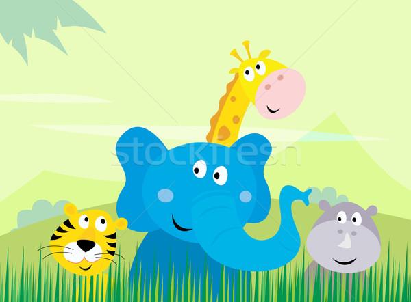 Stock photo: Cute Safari Jungle Animals - Tiger, Elephant, Giraffe