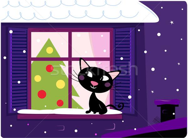 Cat looking through window, christmas tree and xmas snowy night  Stock photo © lordalea