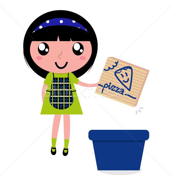 Cute girl recycle paper box into recycling bin Stock photo © lordalea