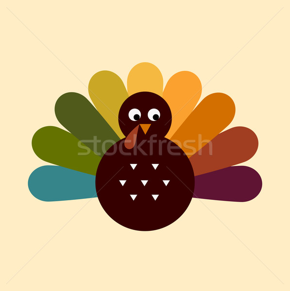 Cute retro Thanksgiving Turkey isolated on beige Stock photo © lordalea