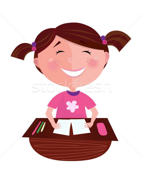 Stockfoto: Terug · naar · school · gelukkig · glimlachend · leren · meisje · klein