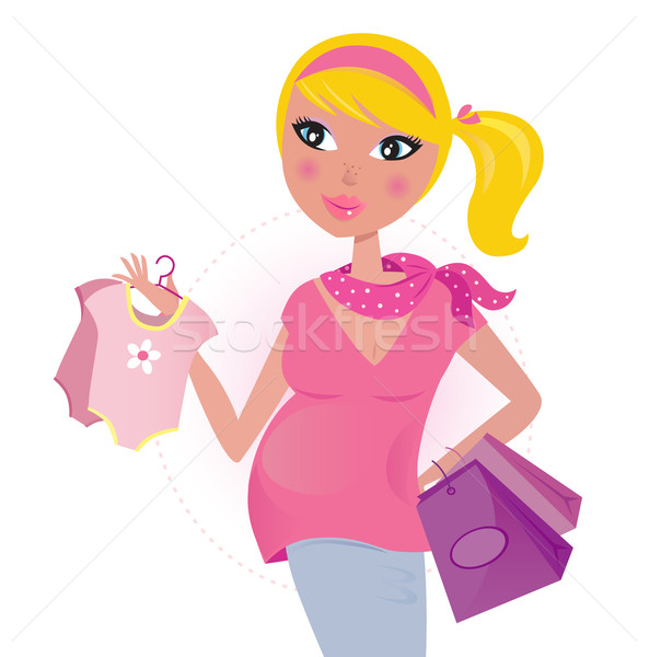 Pregnant mom on shopping for child / baby girl  Stock photo © lordalea