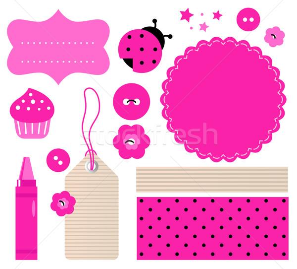 Scrapbook elementi set isolato bianco rosa Foto d'archivio © lordalea