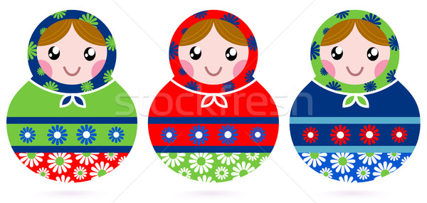 Colorful wooden traditional Russian dolls isolated on white Stock photo © lordalea