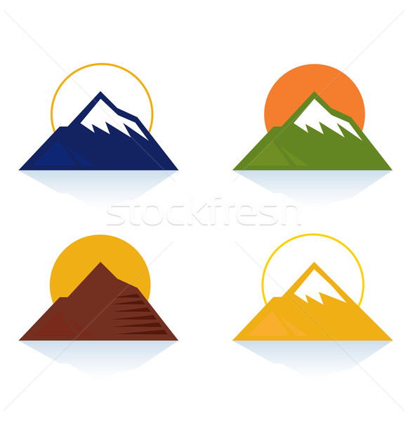 Stock photo: Mountain and tourist icons isolated on white (blue, yellow, green, brown)