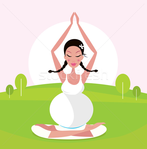 Wellness, yoga & nature: pregnant woman practicing asana in green park Stock photo © lordalea