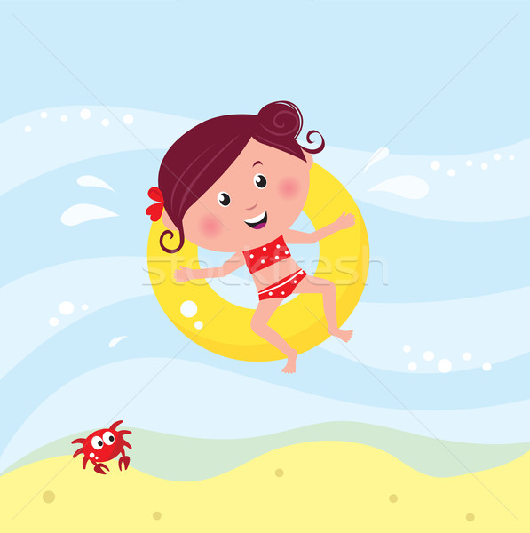 Stock photo: Illustration of cute smiling girl swimming in the sea near beach