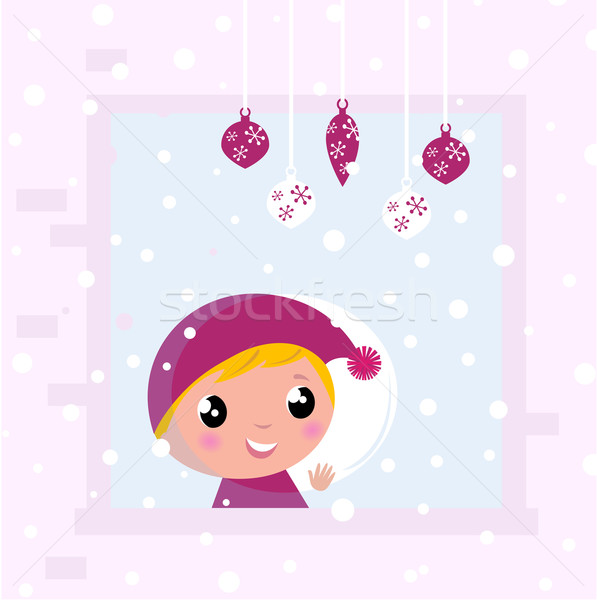 Stock photo: Cute Christmas Child looking on Snow through Window