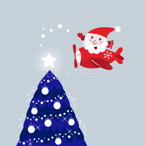 Santa in air plane lighting christmas tree ( retro )