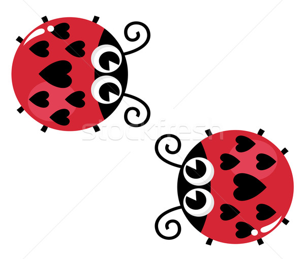 Valentine's love lady bugs pair isolated on white Stock photo © lordalea
